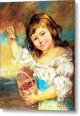 Metal Print featuring the painting Cherry Basket Girl by Sher Nasser