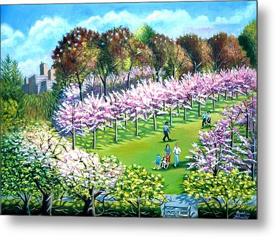 Cherry Blossems At The Brooklyn Botanical Garden Metal Print