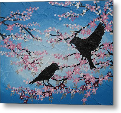 Cherry Blossom Birds Metal Print