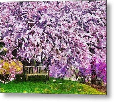 Metal Print featuring the painting Cherry Blossom by Georgi Dimitrov