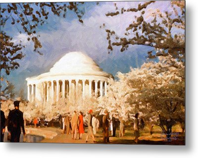 Cherry Blossom Jefferson Memorial 1950s Metal Print by Spyder Webb
