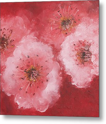 Cherry Blossom On Rich Red Background Metal Print