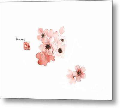 Cherry Blossom Sakura Pink Flower Flowers Delicate Branch Brown Watercolor Painting Metal Print