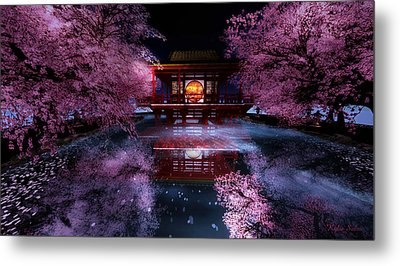 Cherry Blossom Tea House Metal Print by Kylie Sabra
