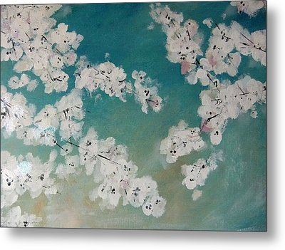 Cherry Blossoms Against Sky Metal Print by Lynne McQueen
