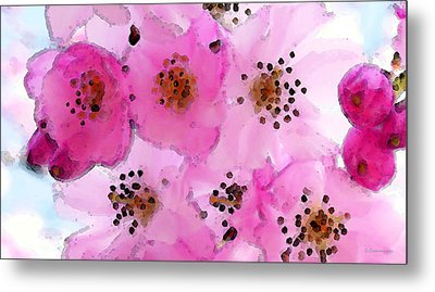 Cherry Blossoms - Flowers So Pink Metal Print by Sharon Cummings