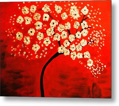 Cherry Blossoms Metal Print by Shelia Gallaher Chancey