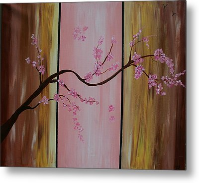Cherry Blossoms Metal Print by Monica Art-Shack
