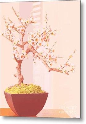 Cherry Bonsai Tree Metal Print by Marian Cates