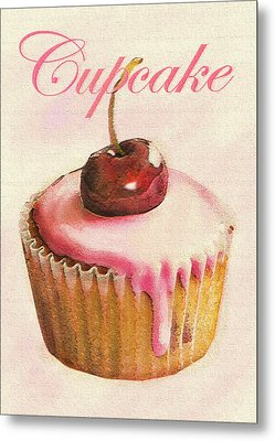 Cherry Cupcake Metal Print by Jane Schnetlage