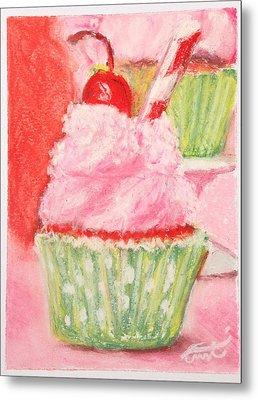 Cherry Limeade Cupcake Metal Print