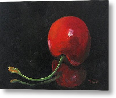 Cherry On Black Metal Print by Torrie Smiley