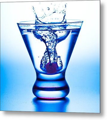 Cherry Splash With Blue Over-tones Metal Print by John Hoey
