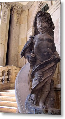 Metal Print featuring the photograph Cherub At The Entrance Of Zwinger Palace - Dresden Germany by Jordan Blackstone