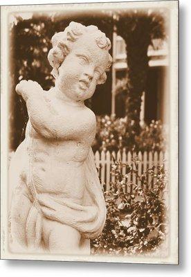 Metal Print featuring the photograph Cherub In The Garden by Nadalyn Larsen
