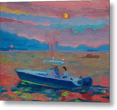 Chesapeake Bay Twilight With Moon Metal Print by Thomas Bertram POOLE