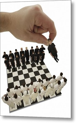 Chess Being Played With Little People Metal Print by Darren Greenwood