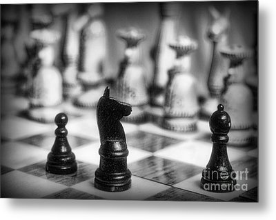 Chess Game In Black And White Metal Print by Paul Ward