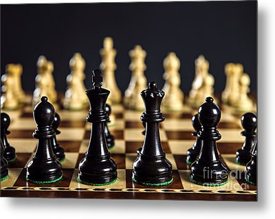 Chess Pieces On Board Metal Print
