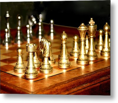 Chess Set  Metal Print by Diane Merkle