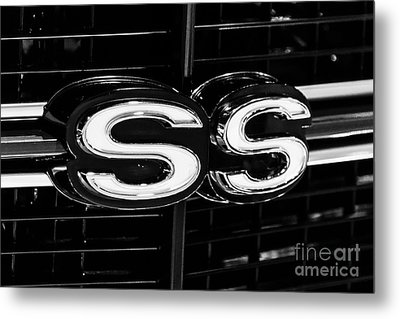 Chevelle Ss Super Sport Emblem Black And White Picture Metal Print by Paul Velgos