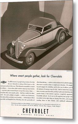 Chevrolet 1933 1930s Usa Cc Cars Metal Print by The Advertising Archives