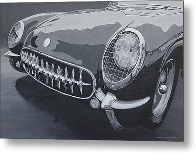 Metal Print featuring the painting Chevrolet Corvette 1954 by Anna Ruzsan
