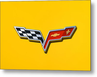 Chevrolet Corvette Flags Metal Print by Phil 'motography' Clark
