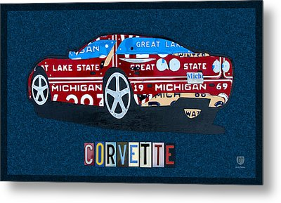 Chevrolet Corvette Recycled Michigan License Plate Art Metal Print by Design Turnpike