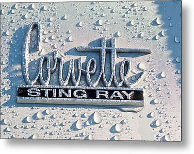 1966 Chevrolet Corvette Sting Ray Emblem -0052c Metal Print by Jill Reger