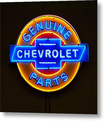 Chevrolet Neon Sign Metal Print by Jill Reger