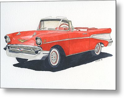 Metal Print featuring the painting Chevy Bel Air Convertible 57 by Eva Ason