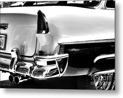 Chevy Car Art Black And White Rear View Metal Print by Lesa Fine