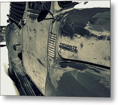 Chevy In Silver Metal Print