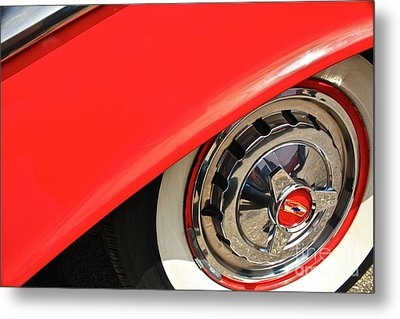 Metal Print featuring the photograph 1955 Chevy Rim by Linda Bianic