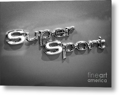 Chevy Super Sport Emblem Black And White Picture Metal Print by Paul Velgos