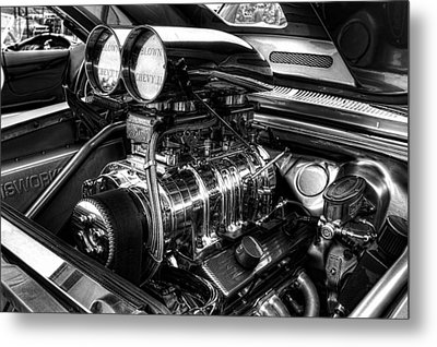 Chevy Supercharger Motor Black And White Metal Print