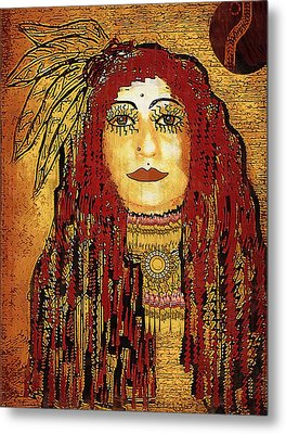 Cheyenne Woman Warrior Metal Print by Pepita Selles