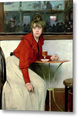 Chica In A Bar Metal Print by Ramon Casas i Carbo