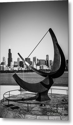Chicago Adler Planetarium Sundial In Black And White Metal Print by Paul Velgos
