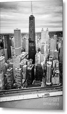 Chicago Aerial With Hancock Building In Black And White Metal Print by Paul Velgos