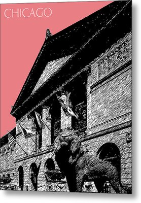 Chicago Art Institute Of Chicago - Light Red Metal Print
