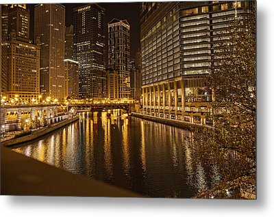 Metal Print featuring the photograph Chicago At Night by Daniel Sheldon
