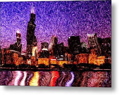 Chicago At Night Digital Art Metal Print
