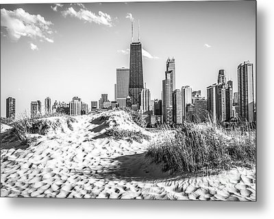 Chicago Beach And Skyline Black And White Photo Metal Print