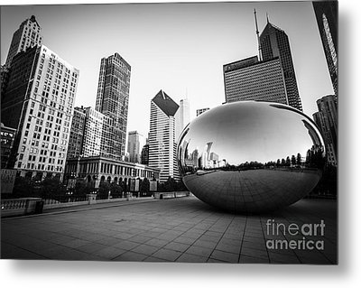 Chicago Bean And Chicago Skyline In Black And White Metal Print by Paul Velgos