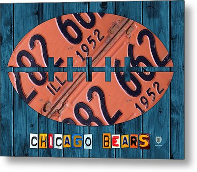 Chicago Bears Football Recycled License Plate Art Metal Print by Design Turnpike