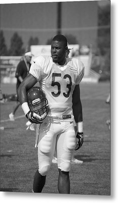 Chicago Bears Lb Jerry Franklin Training Camp 2014 Bw Metal Print by Thomas Woolworth