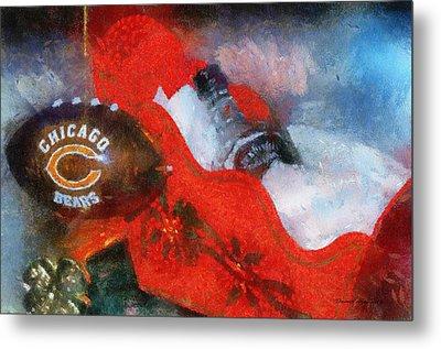 Chicago Bears Xmas Ornament Photo Art 02 Metal Print by Thomas Woolworth