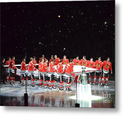 Metal Print featuring the photograph Chicago Blackhawks And The Banner by Melissa Goodrich